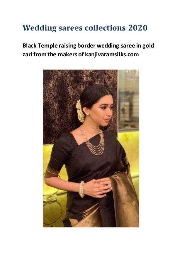 Wedding sarees collections 2020 Black Temple raising border wedding saree in gold zari from the makers of kanjivaramsilks....