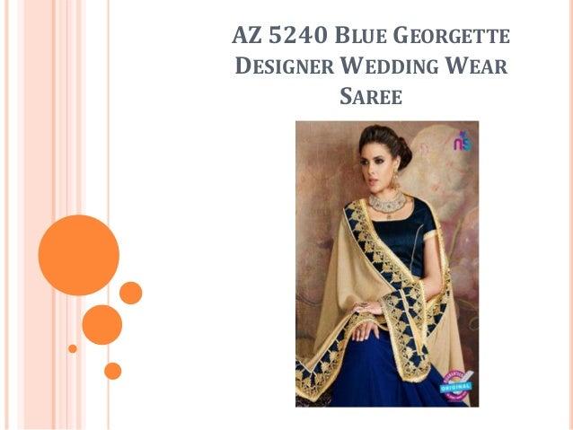 AZ 5240 BLUE GEORGETTE DESIGNER WEDDING WEAR SAREE