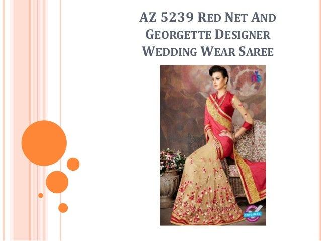 AZ 5239 RED NET AND GEORGETTE DESIGNER WEDDING WEAR SAREE