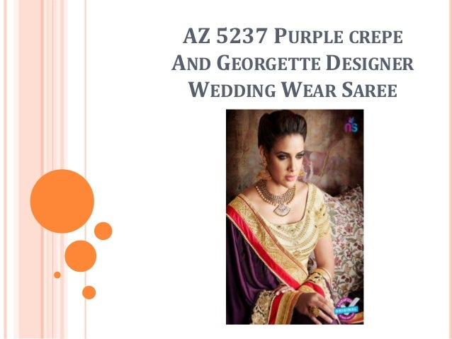 AZ 5237 PURPLE CREPE AND GEORGETTE DESIGNER WEDDING WEAR SAREE