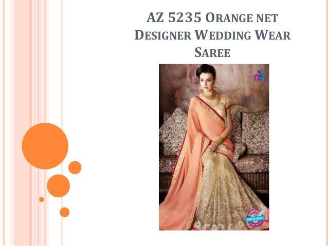 AZ 5235 ORANGE NET DESIGNER WEDDING WEAR SAREE