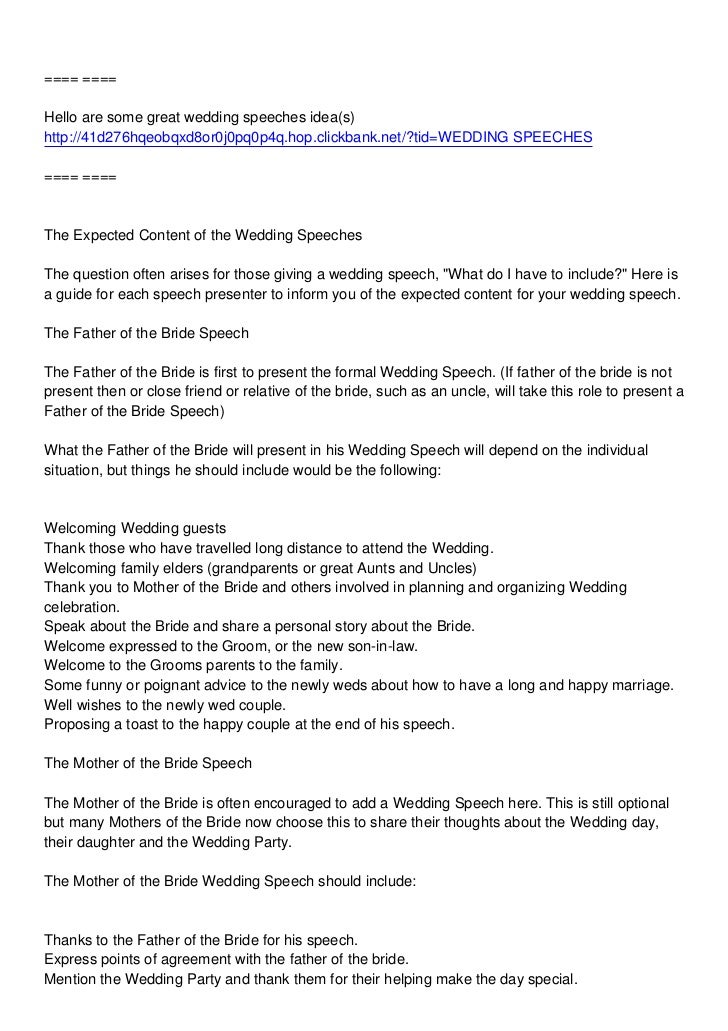 Mothers Wedding Speech – Wedding Speech Example