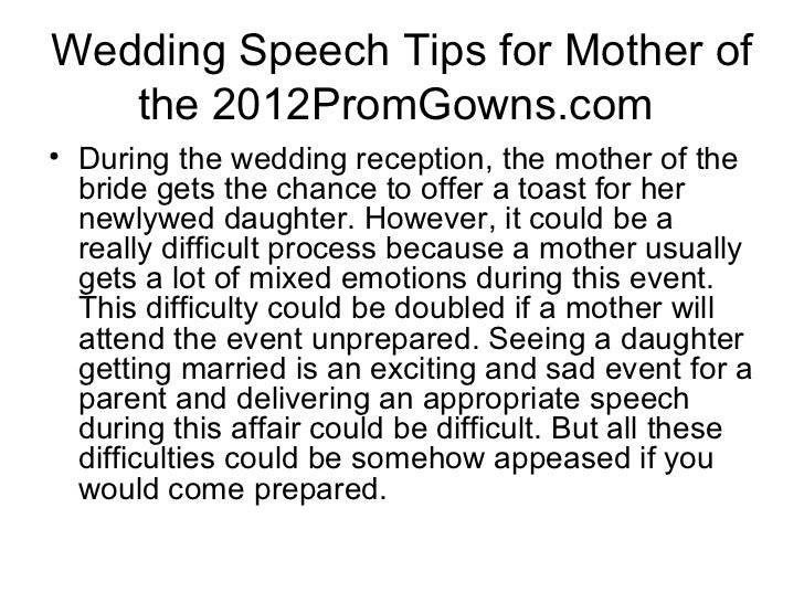 Wedding Speech Tips For Mother Of The 2012PromGownso During Reception
