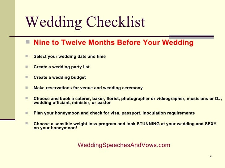 Wedding Checklist And Timeline