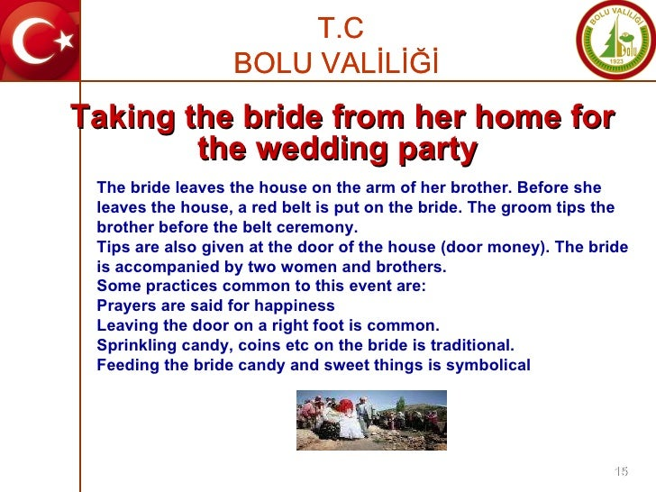 The bride leaves the house on the arm of her brother. Before she leaves the house, a red belt is put on the bride. The gro...
