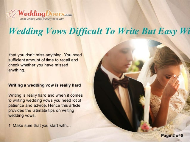 Wedding vows difficult to write but easy with our tips page 1 of 8 3 page 2 of 8 wedding vows difficult to write junglespirit Choice Image