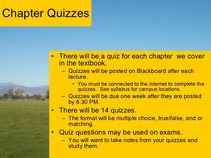 Chapter Quizzes <ul><li>There will be a quiz for each chapter  we cover in the textbook. </li></ul><ul><ul><li>Quizzes wil...