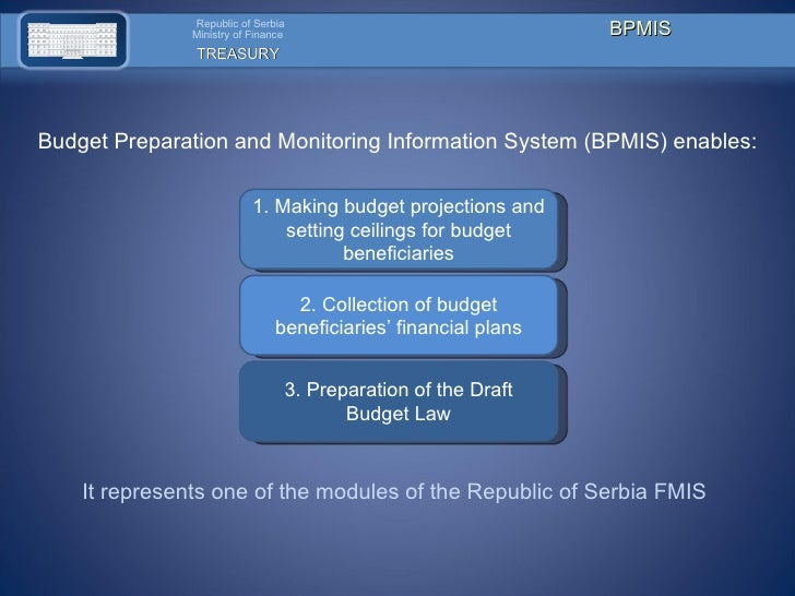 1.  Making budget projections and setting ceilings for budget beneficiaries 2 .  Collection of budget beneficiaries' finan...