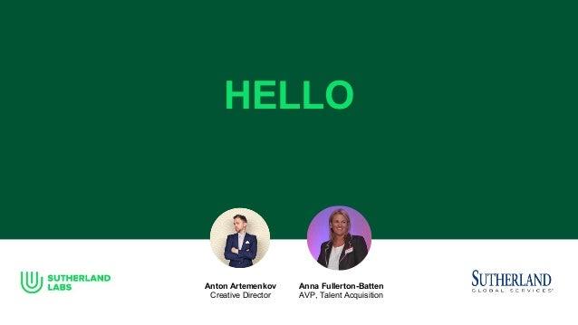 HELLO Anton Artemenkov Creative Director Anna Fullerton-Batten AVP, Talent Acquisition