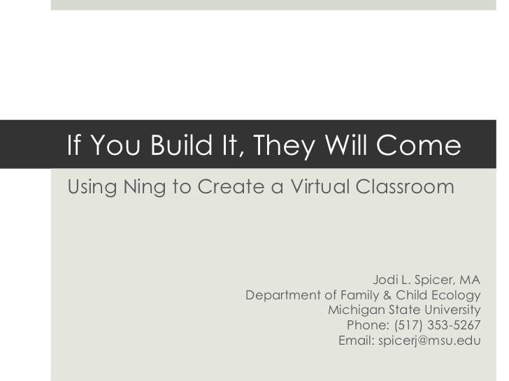 If You Build It, They Will Come<br />Using Ning to Create a Virtual Classroom<br />Jodi L. Spicer, MA<br />Department of F...