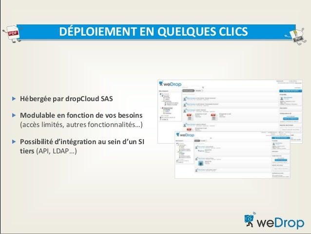  Hébergée par dropCloud SAS  Modulable en fonction de vos besoins (accès limités, autres fonctionnalités…)  Possibilité...