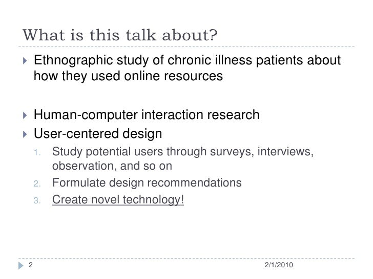 Uncertainty in Chronic Illness and Patients' Online Experience Slide 2