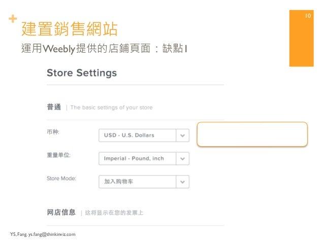 + 建置銷售網站  YS, Fang. ys.fang@thinkinviz.com  9  運用Weebly提供的店鋪頁面:缺點1  沒有新台幣幣別