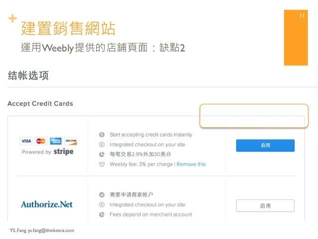 + 建置銷售網站  YS, Fang. ys.fang@thinkinviz.com  10  運用Weebly提供的店鋪頁面:缺點1  沒有新台幣幣別