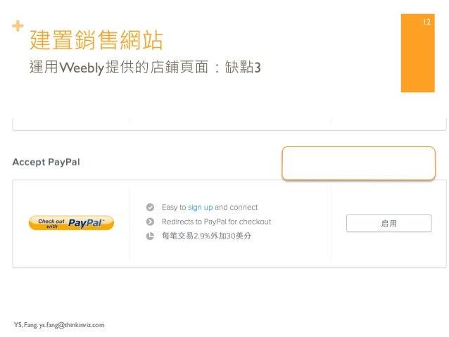 + 建置銷售網站  YS, Fang. ys.fang@thinkinviz.com  11  運用Weebly提供的店鋪頁面:缺點2  支援刷卡,  但是要被抽成…