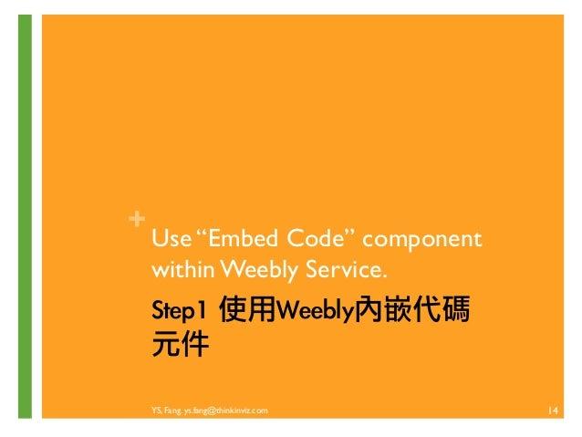 YS, Fang. ys.fang@thinkinviz.com  13  自己動手做吧!  Step1. 運用Weebly 內嵌代碼(embed code)元件  Stpe2 . 申請 PayPal賬戶  Stpe3. 建立商品銷售按鈕  S...