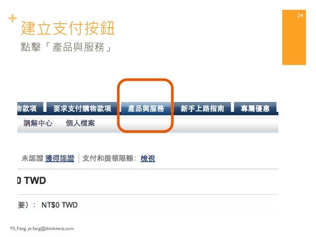 + Setup shopping payment Button  (Link) with PayPal.  Step3 設定PayPal購物支付按鈕  連結  YS, Fang. ys.fang@thinkinviz.com 23