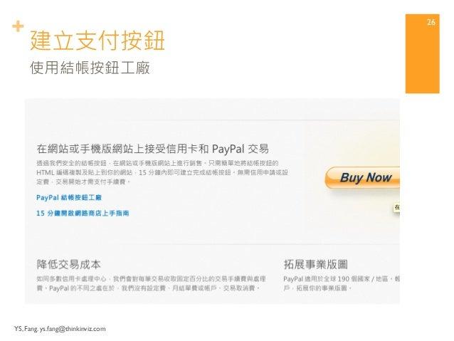 + 建立支付按鈕  YS, Fang. ys.fang@thinkinviz.com  25  可用線上支付方案,點選「網站付款標準版」  (可一併產生電子郵件付款方案)