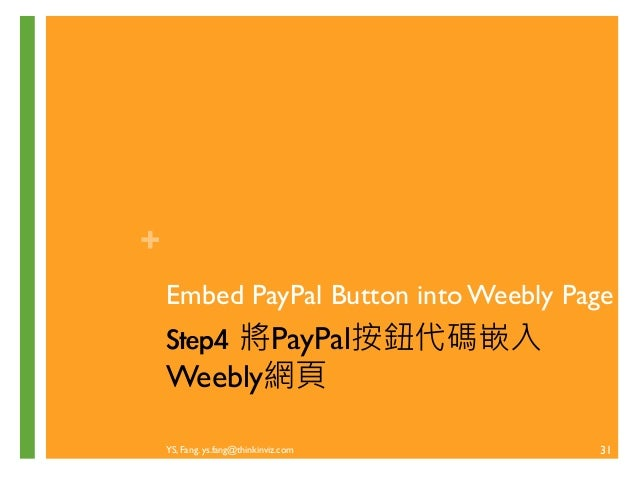 + 建立支付按鈕  YS, Fang. ys.fang@thinkinviz.com  30  單一結帳按鈕-立即購:產生HTML代碼  貼回Weebly的Embed Code元件
