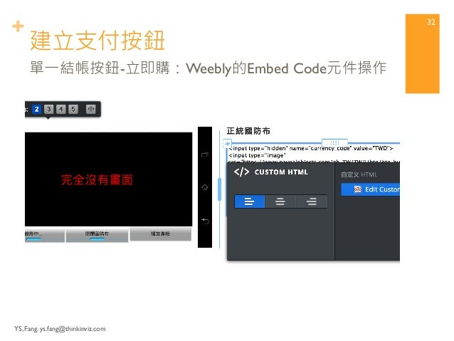 +  Embed PayPal Button into Weebly Page  Step4 將PayPal按鈕代碼嵌入  Weebly網頁  YS, Fang. ys.fang@thinkinviz.com 31