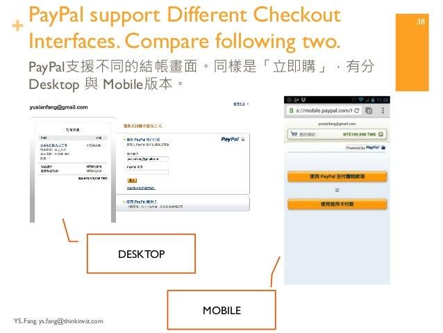 + 建立支付按鈕  YS, Fang. ys.fang@thinkinviz.com  37  PayPal結賬畫面 – 信用卡付款輸入界面  完成!