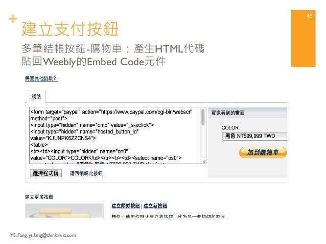 + 建立支付按鈕  YS, Fang. ys.fang@thinkinviz.com  44  多筆結帳按鈕-購物車:設定細節
