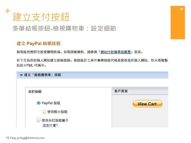 + 建立支付按鈕  YS, Fang. ys.fang@thinkinviz.com  48  多筆結帳按鈕-檢視購物車