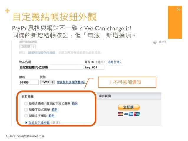 +  改變按鈕風格  自訂購物按鈕進階技巧  讓網站界面更專業。  YS, Fang. ys.fang@thinkinviz.com 54