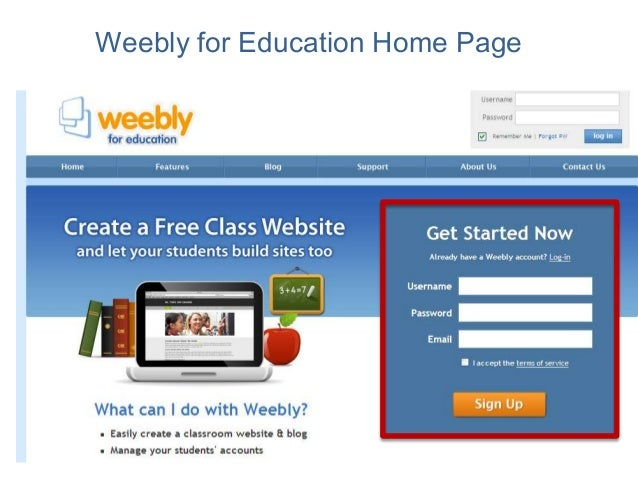 Weebly for Education Home Page