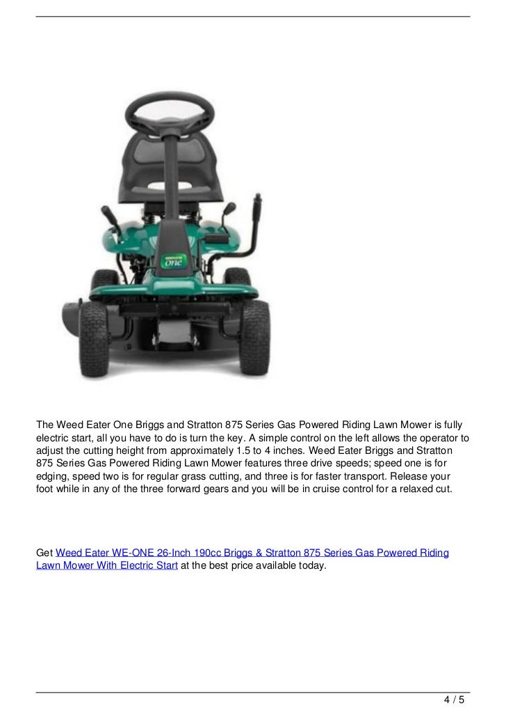 Weed Eater Briggs And Stratton 875 Series Gas Powered