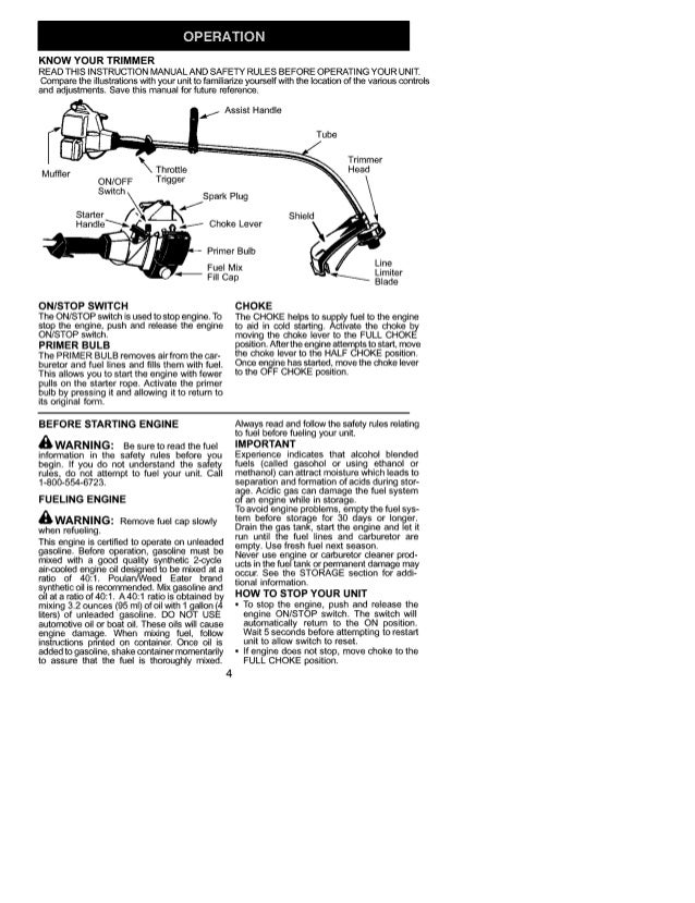 Weed Eater Trimmer User Manual