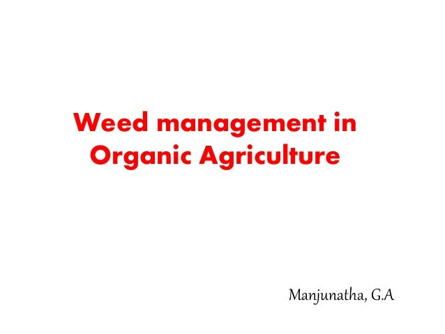 Weed management in Organic Agriculture Manjunatha, G.A
