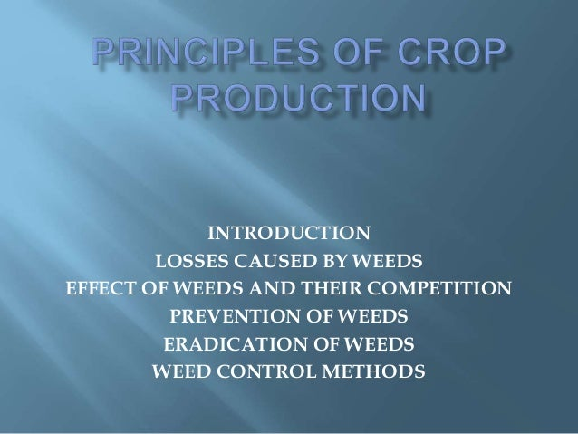 INTRODUCTION LOSSES CAUSED BY WEEDS EFFECT OF WEEDS AND THEIR COMPETITION PREVENTION OF WEEDS ERADICATION OF WEEDS WEED CO...