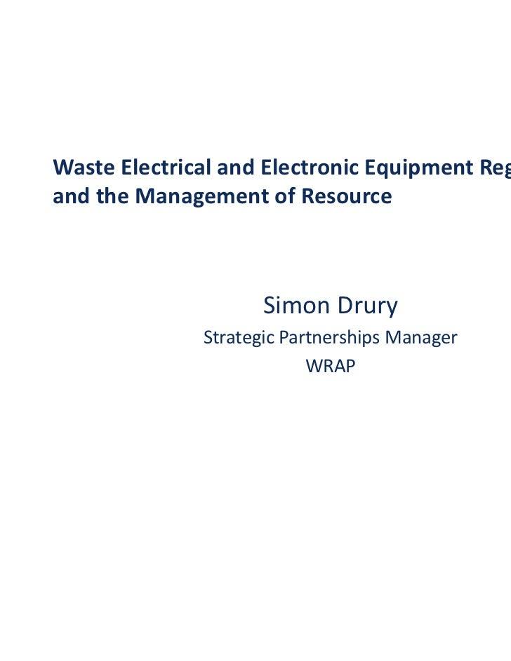 WasteElectricalandElectronicEquipmentRegulations        l   i l d l          i     i          l iandtheManagement...