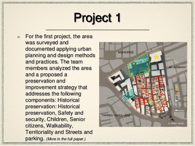 Project 1 For the first project, the area was surveyed and documented applying urban planning and design methods and pract...