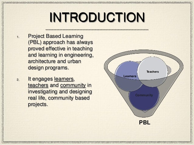 INTRODUCTION 1. Project Based Learning (PBL) approach has always proved effective in teaching and learning in engineering,...