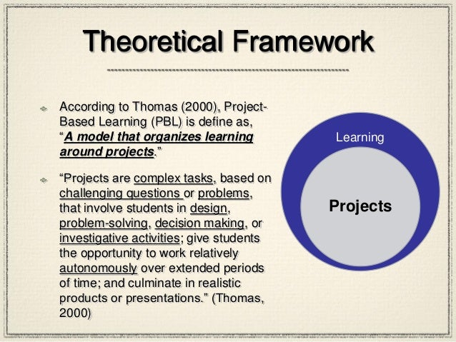 """Theoretical Framework According to Thomas (2000), Project- Based Learning (PBL) is define as, """"A model that organizes lear..."""