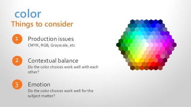 color Production issues CMYK, RGB, Grayscale, etc 1 Contextual balance Do the color choices work well with each other? 2 E...