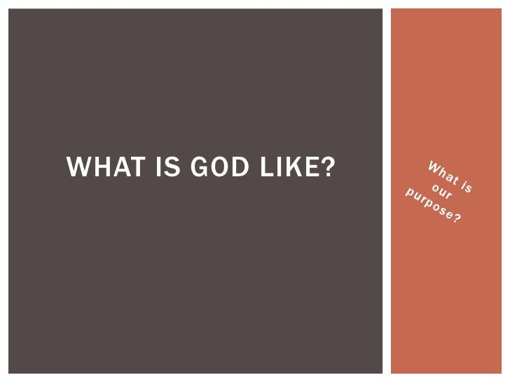 What is our purpose?<br />What is God like? <br />