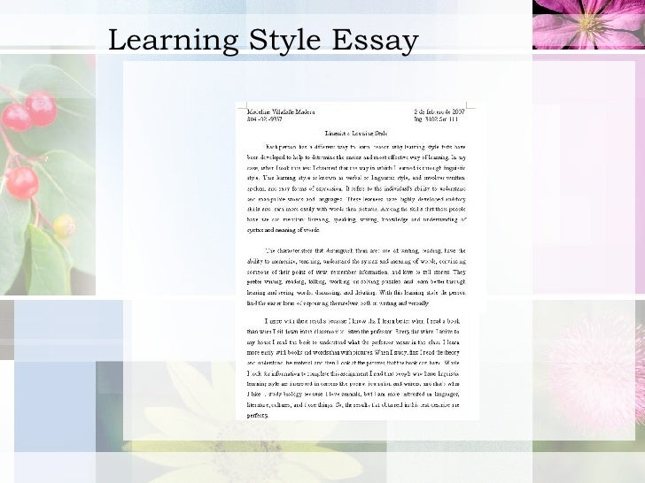 Week  Learning Style  Learning Style Essay Custom Assignments also Essays On High School  Conscience Essay