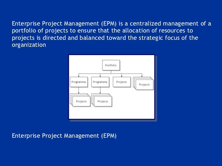 <ul><li>Enterprise Project Management (EPM) is a centralized management of a portfolio of projects to ensure that the allo...