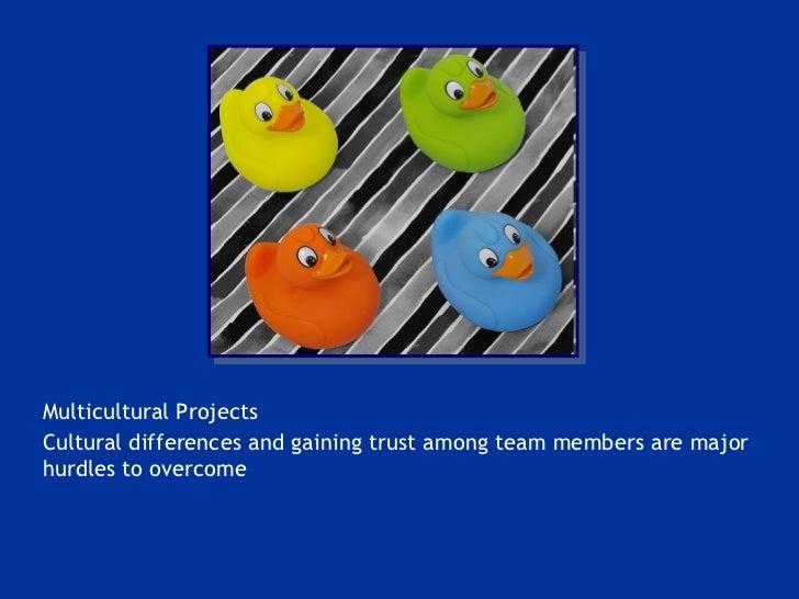<ul><li>Multicultural Projects </li></ul><ul><li>Cultural differences and gaining trust among team members are major hurdl...
