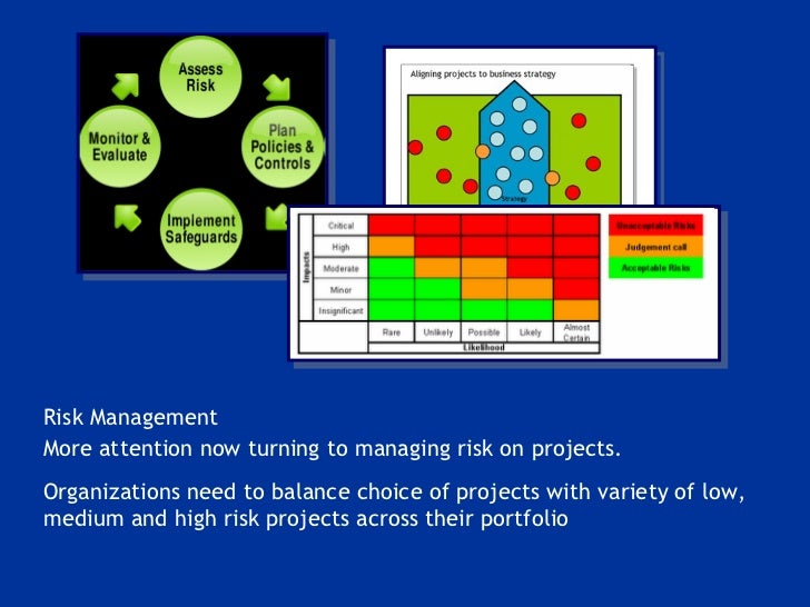 Risk Management More attention now turning to managing risk on projects.  Organizations need to balance choice of projects...