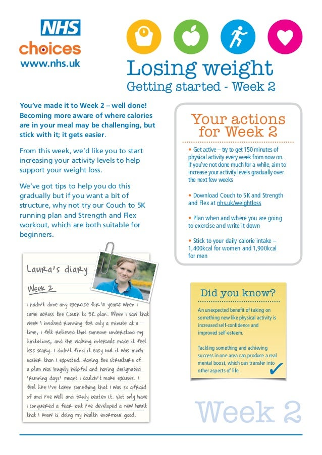 Losing weight                                           Getting started - Week 2You've made it to Week 2 – well done!Becom...
