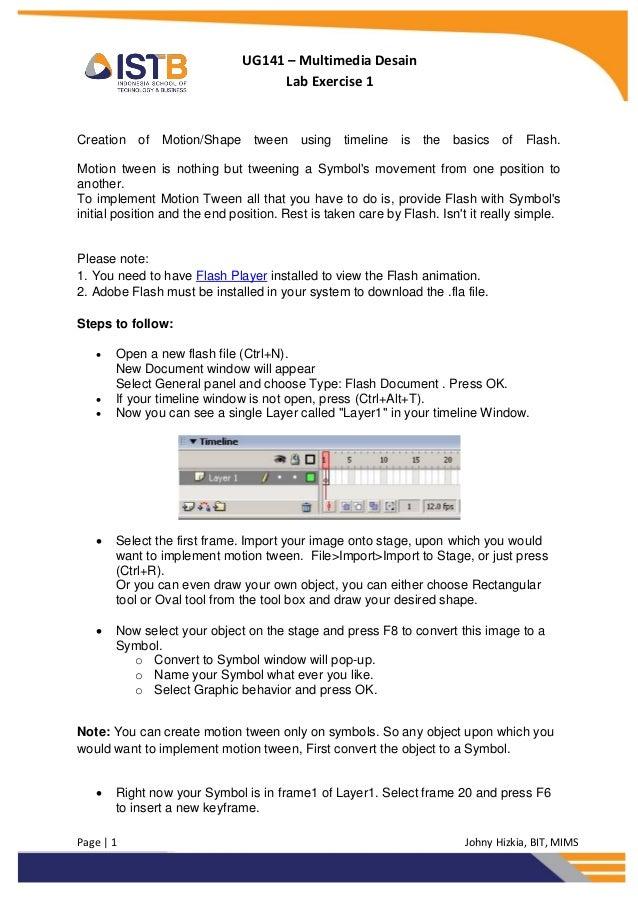 UG141 – Multimedia Desain                                     Lab Exercise 1Creation of Motion/Shape tween using timeline ...
