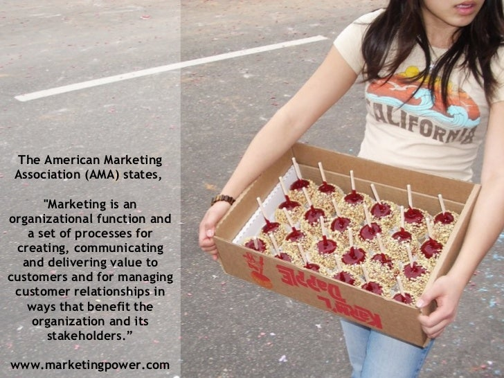 """The American Marketing Association (AMA) states,  """"Marketing is an organizational function and a set of processes for..."""