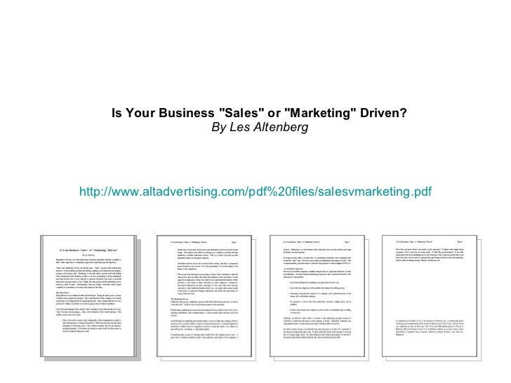 """http://www.altadvertising.com/pdf%20files/salesvmarketing.pdf   Is Your Business """"Sales"""" or """"Marketing&quot..."""