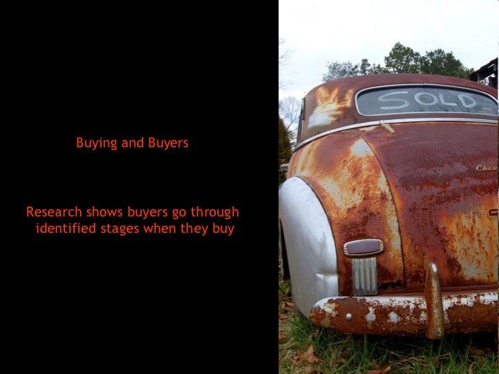 <ul><li>Buying and Buyers </li></ul><ul><li>Research shows buyers go through identified stages when they buy </li></ul>