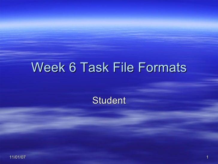 Week 6 Task File Formats Student