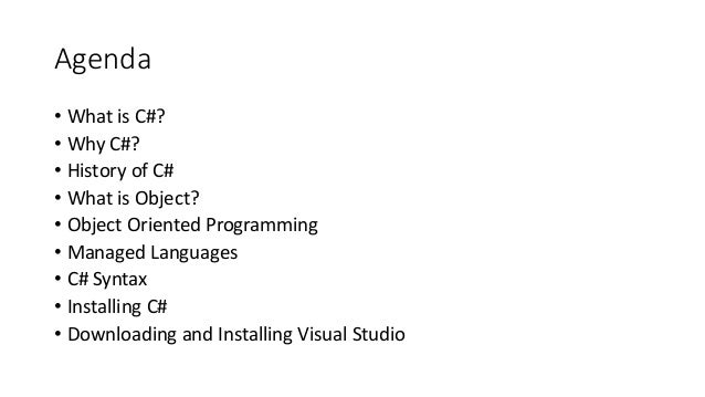 Introduction to C# - Week 0 Slide 2